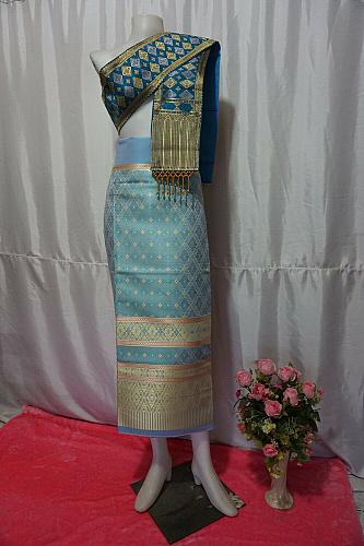 Sky BlueColor Thai Lanna Synthetic Silk sinh Skirt Pha Bieng Tailor to your size