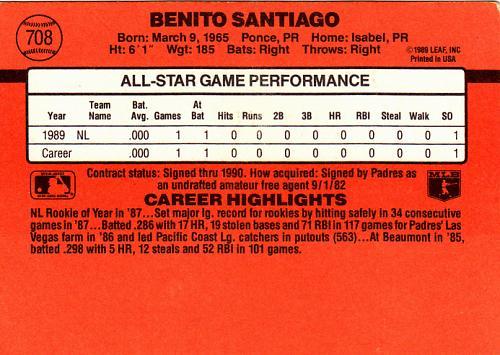 Benito Santiago #708 - Padres 1990 Donruss Baseball Trading Card
