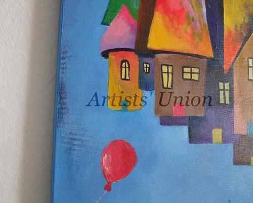 Fantasy Original Oil Painting Cityscape Magic City Cats Balloon Fine Art for Kids
