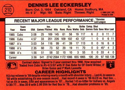 Dennis Eckersley #210 - Athletics 1990 Donruss Baseball Trading Card