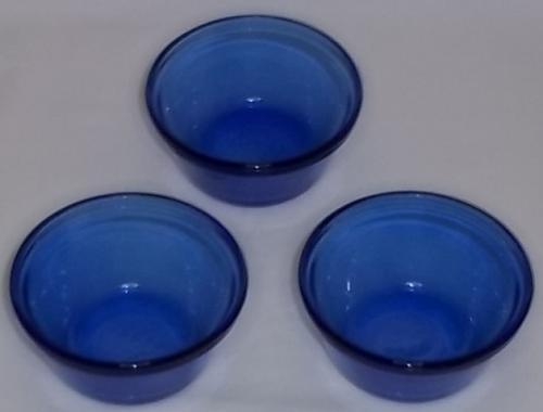 Vintage Arcorac France Cobalt Blue Glass Bowls
