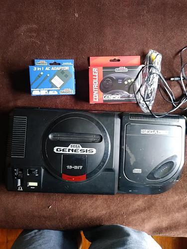 Sega CD + Sega Genesis Console and Cords, Controller, 2 Games - Works - Very Good - C