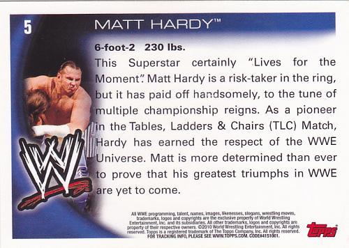 Matt Hardy #5 - WWE 2010 Topps Wrestling Trading Card