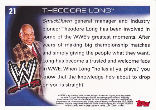 Theodore Long #21 - WWE 2010 Topps Wrestling Trading Card