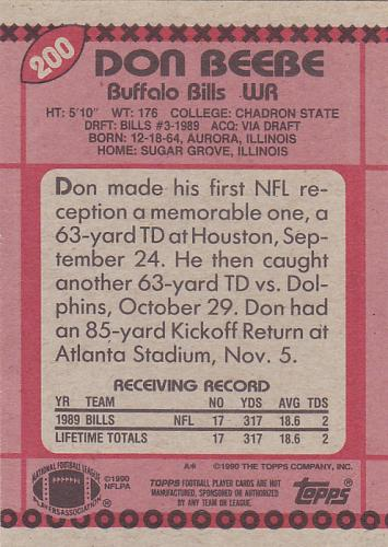 Don Beebe #200 - Bills 1990 Topps Football Trading Card