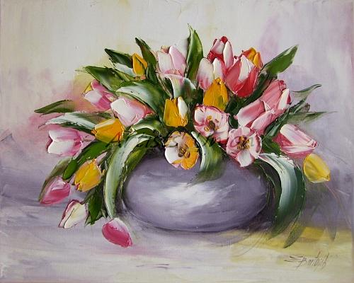 Tulips Original Oil Painting Impasto Modern Palette Knife Shabby tone Bouquet
