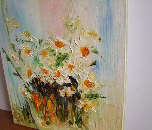 White Daisies Original Oil Painting Modern Fine Art Palette Knife Textured Offer