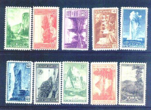 US, Scott# 740-749, National Parks Issue set of 10 stamps MNH (1098-OO)