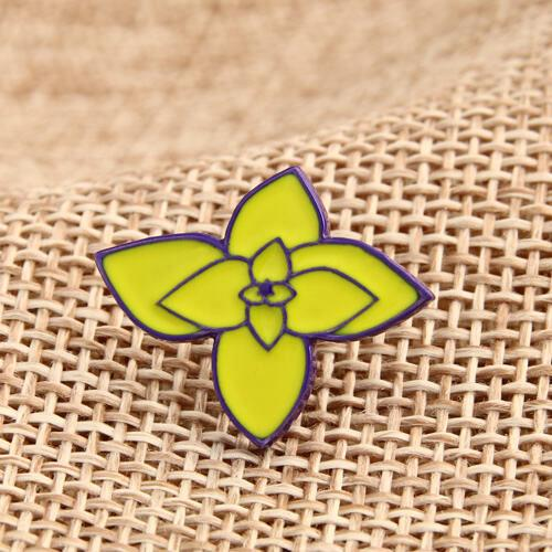 Custom Lapel Pins | Green Flower Enamel Pins - Free Art