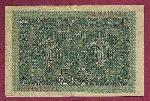 GERMANY 50 Mark 1914 Banknote ENr4612341 Pick 49 with 7 Digit Serial Number