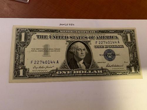 United States Washington circulated blue banknote 1957 #52