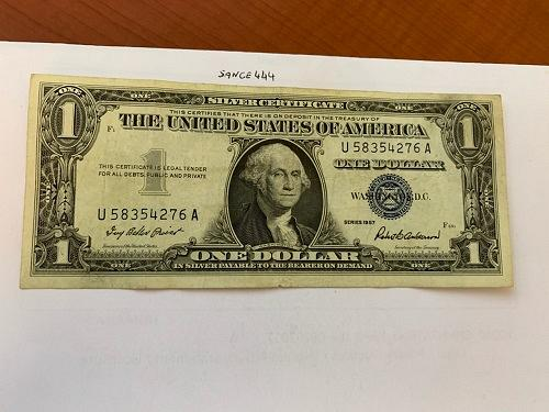 United States Washington circulated blue banknote 1957 #56