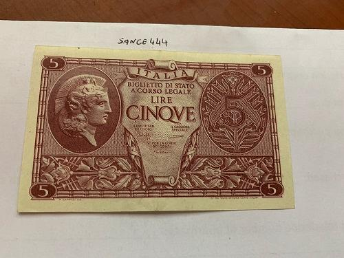 Italy 5 lire uncirculated banknote 1944 #11