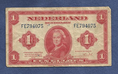 NETHERLANDS 1 Gulden 1943 Banknote - Serial FE794075 - Historic WWII Currency