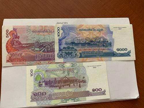 Cambodia lot of 3 uncirc. banknotes 2001/7