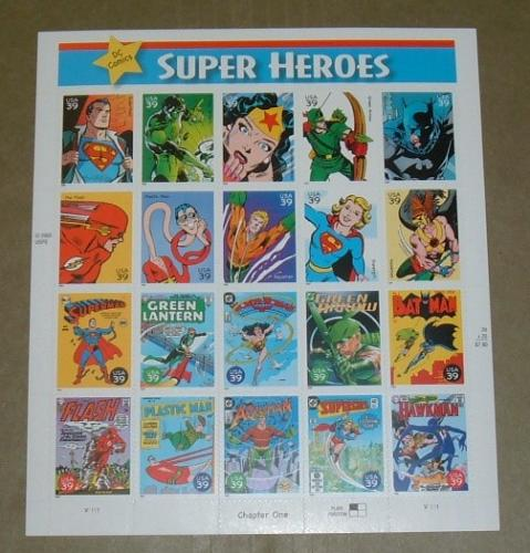 US, Scott# 4084, thirty-nine cent Super Heroes sheet of 20 stamps (0106)
