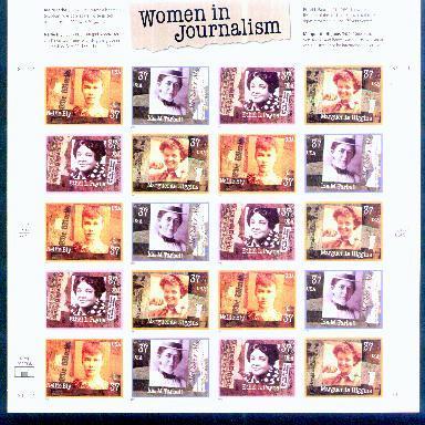 US, Scott# 3665-3668, thirty-seven cent Women in Journalism sheet of 20 (0109)