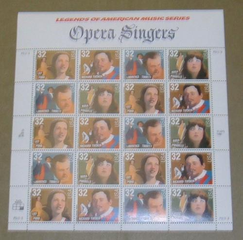US, Scott# 3154-3157, thirty-two cent Opera Singers sheet of 20 stamps (0118)