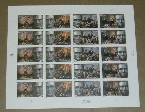 US, Scott# 4380-4383, forty-two cent Abraham Lincoln sheet of 20 stamps (0121)