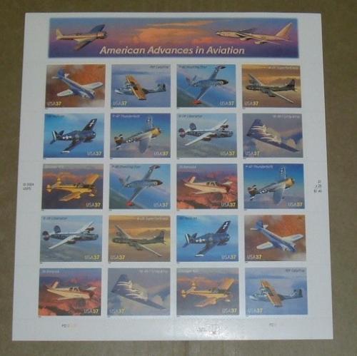 US, Scott# 3916-3925, thirty-seven cent Advances in Aircraft sheet of 20 (0122)