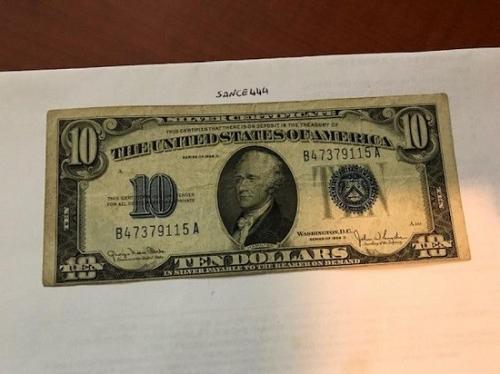 United States Hamilton blue $10 circulated banknote 1934 #1