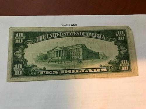 United States Hamilton $10 circulated banknote 1934 A #8