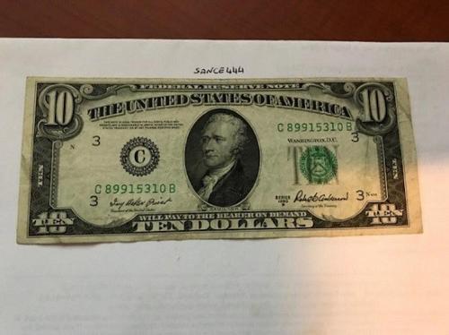 United States Hamilton $10 circulated banknote 1950 B #3