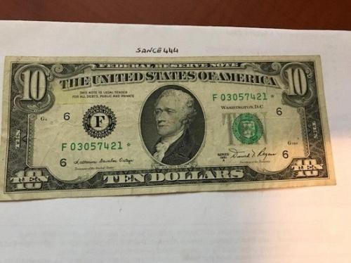United States Hamilton $10 star circulated banknote 1981 A #1