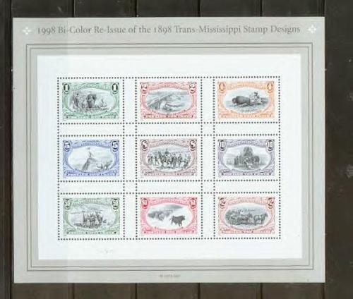 US, Scott# 3209, Trans-Mississippi Reissue sheet of 9 different stamps (0131)