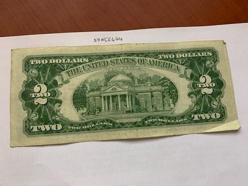 United States Jefferson $2 red circulated banknote 1963