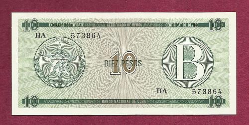 CUBA 10 Pesos Exchange Cert - ND (1985) SERIAL HA 573864 Series B Fortresses in Cuba