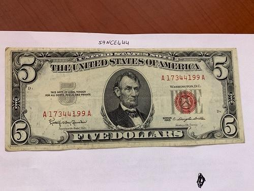 United States Lincoln $5 red circulated banknote 1963 #7