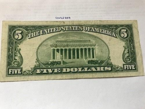 United States Lincoln $5 red circulated banknote 1963 #1