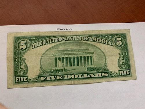 United States Lincoln $5 red circulated banknote 1953 #1
