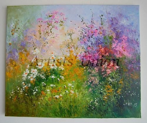 Meadow Original Oil Painting Pink Purple Wild Flowers Daisies Impasto Palette Knife