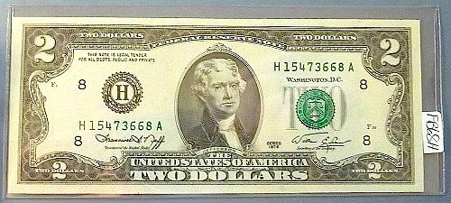 1976 $2.00 Green Seal Federal Reserve Note
