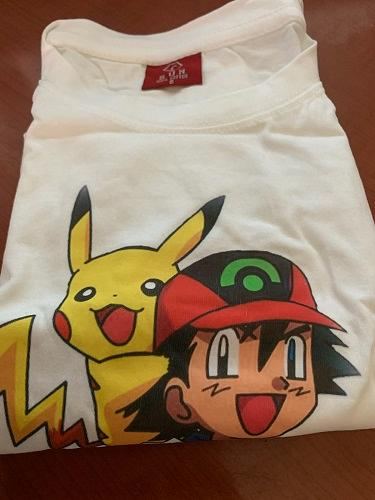 Children white T-shirt printed of pokemon star