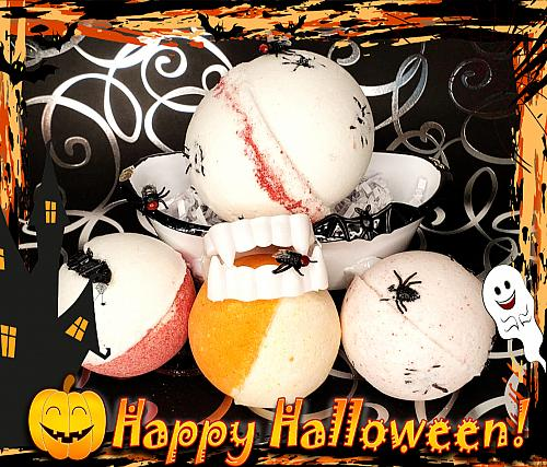 Halloween Inspired Bath Bombs set of 5/Your Choice of Spooky Fall Scents/2 XL & 3 Lar