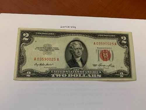 United States Jefferson $2 red circulated banknote 1953 #2