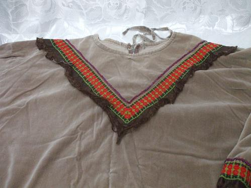 Large Native American Brown Velour Top And Pants