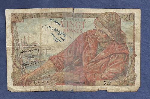 FRANCE 20 Francs 1942 Banknote 003788824 - Breton Fisherman