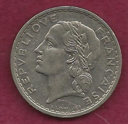 FRANCE French 5 FRANCS 1935 COIN - Historical WWII Currency !!
