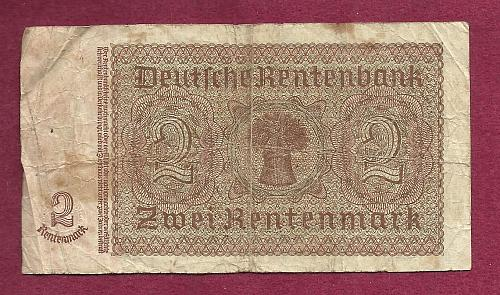 Germany 2 Rentenmark 1937 Banknote #C75549625- WWII Era Nazi Currency!!