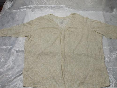 Short Sleeve Cream Blouse Size 4X Cotton / Polyester