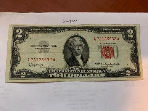 United States Jefferson $2 red circulated banknote 1953 #3