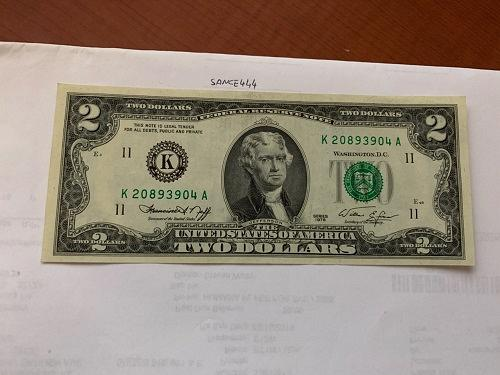 United States Jefferson $2 uncirc. banknote 1976 #9