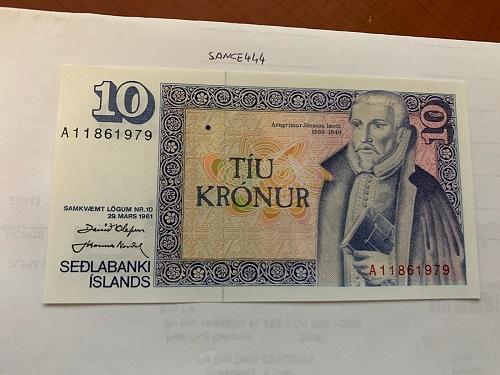 Iceland 10 kronur uncirc. banknote 1961