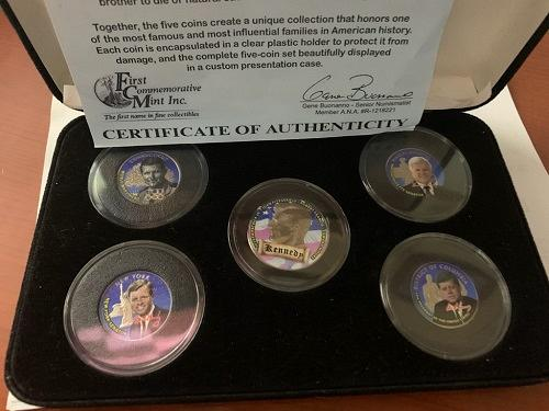Commemorative Kennedy Brothers Colorized Coin Collection