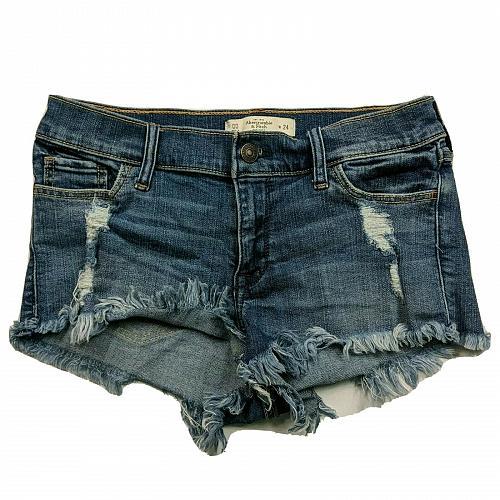 Abercrombie & Fitch Womens Denim Booty Shorts 00 Distressed Raw Hem Stretch