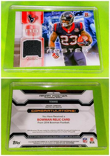 Nfl Arian Foster Houston Texans 2014 Bowman Game-worn Jersey Relic Mnt